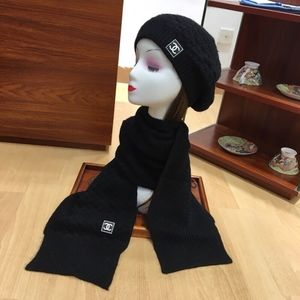 Chanel scarf and beanie set